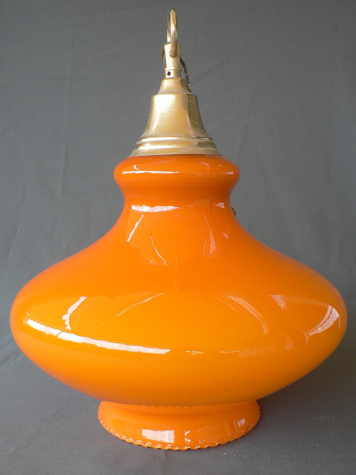 Vintage kitsch siglo xx lampara de suspension cristal - Lamparas de cristal de colores ...