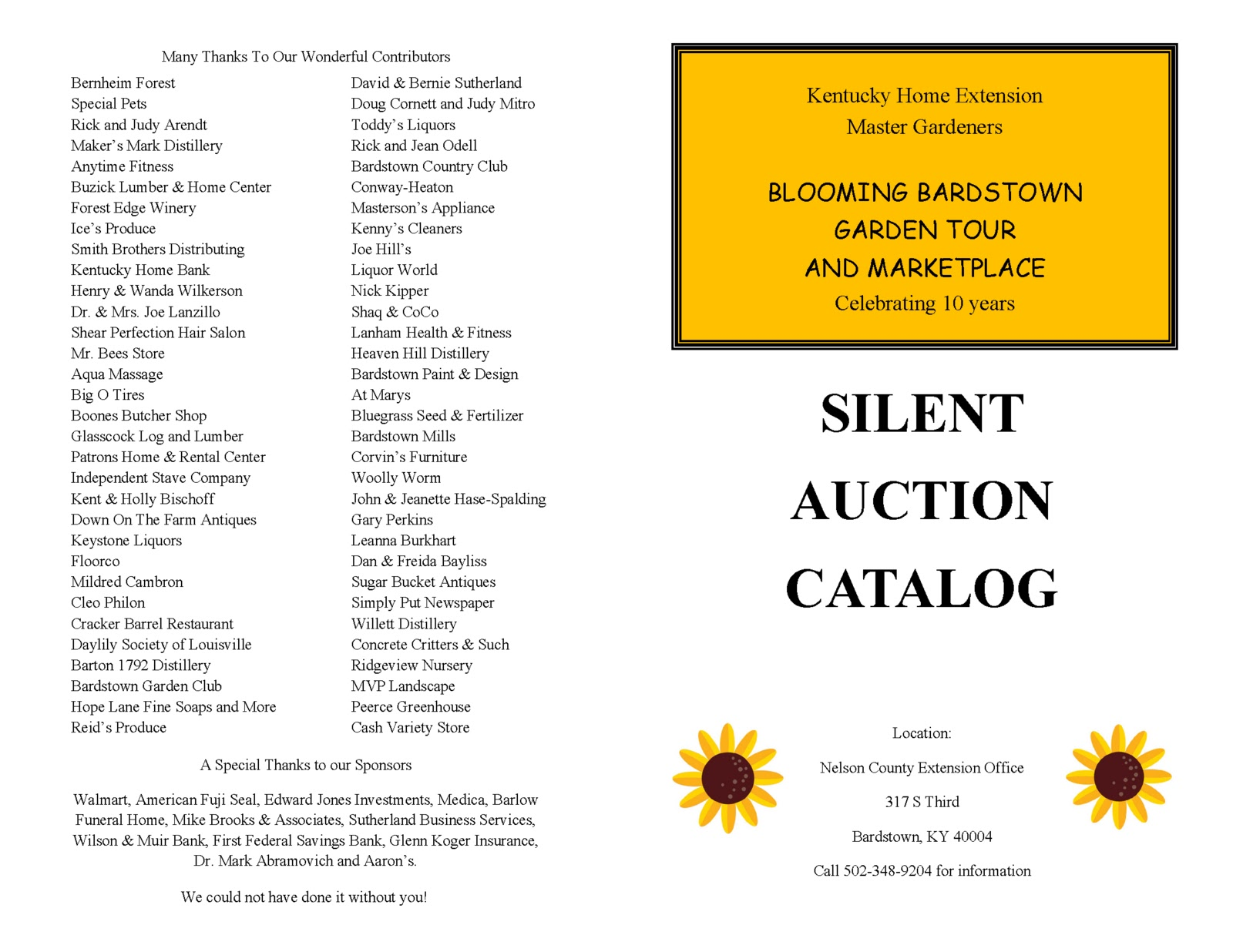 silent auction catalog template kentucky home gardens blooming bardstown garden tour