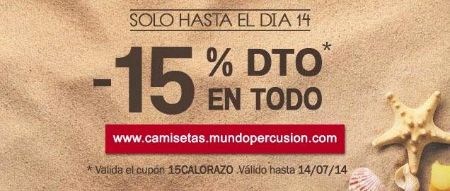 15% de descuento en camisetas de percusión y batería