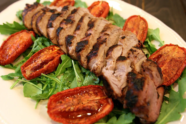 pork loin, roasted tomatoes