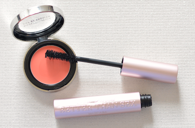 Bare Minerals pop of passion blush balm in Papaya passion, Too Faced better than sex mascara