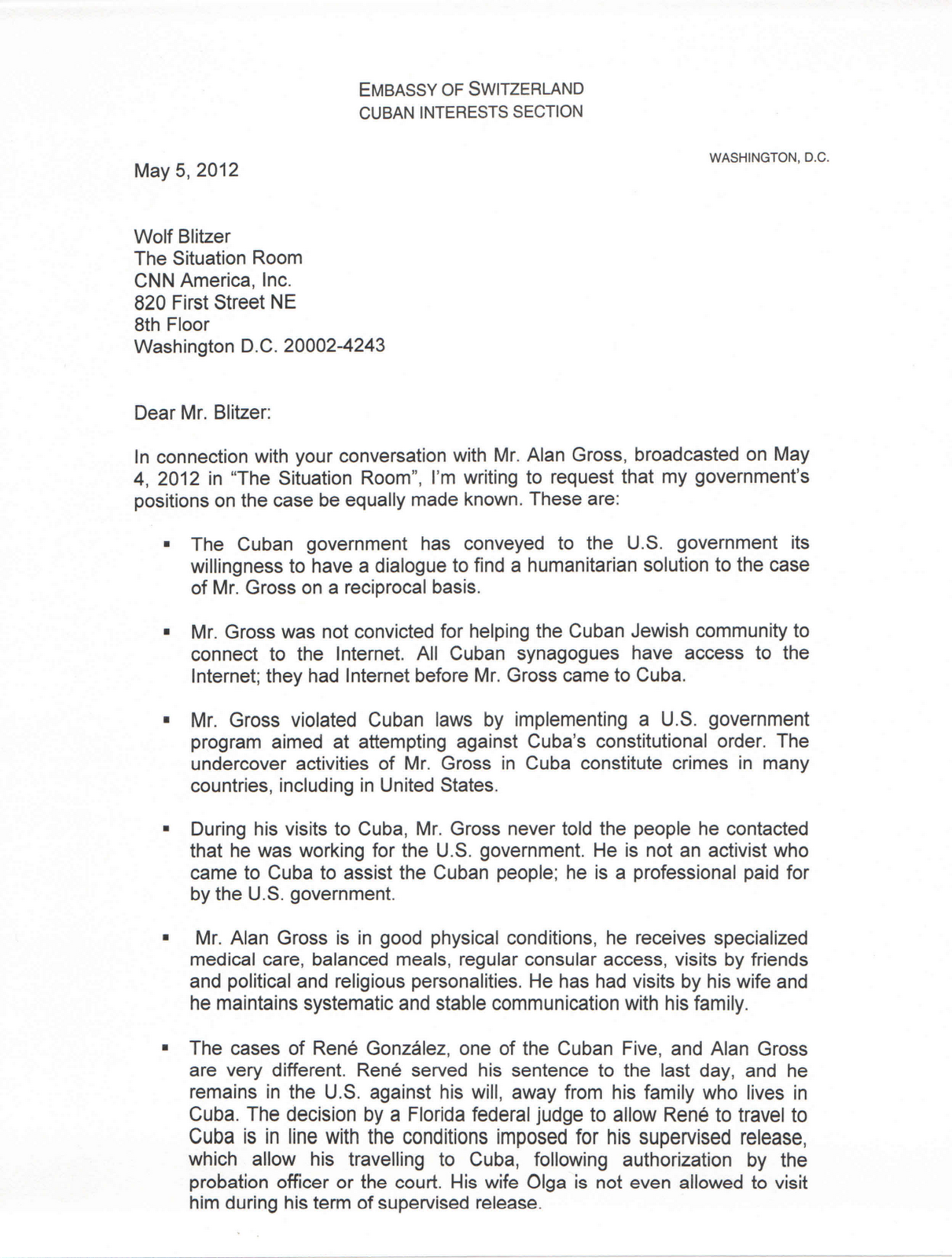 Cuba journal may 2012 letter of cuban interests section chief to cnns wolf blitzer stopboris Gallery