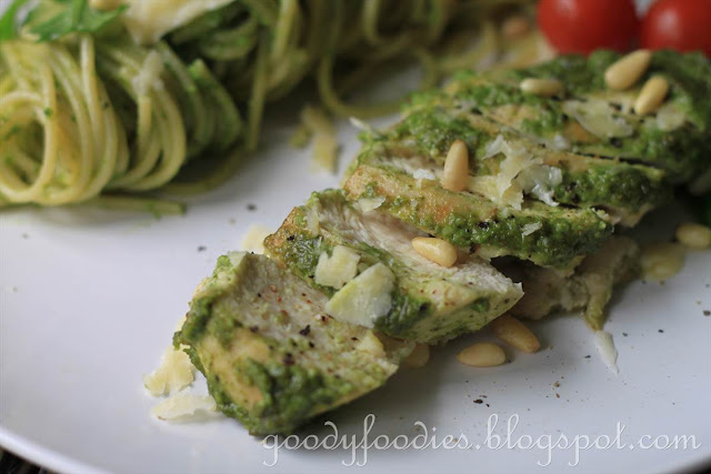 Recipe: Pesto-glazed chicken breast with pesto spaghetti (Curtis Stone ...