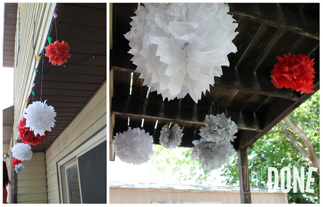 {The UNDONE Blog} Graduation 2013, Graduation Decor, Pom Poms, Red, White, Silver