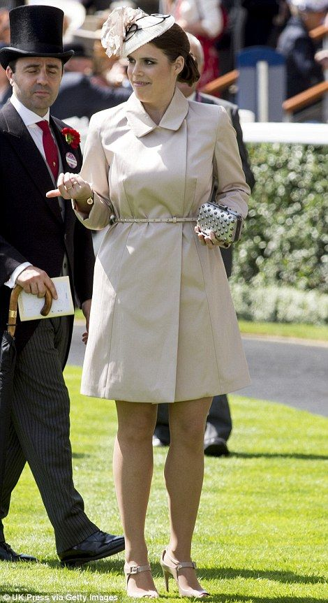 Princess Eugenie in a beige trench coat and Nerida Fraiman hat on day 1 at Royal Ascot, 2014