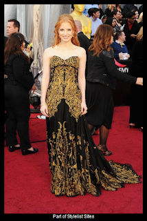 Oscars 2012 Jessica Chastain in Alexander McQueen