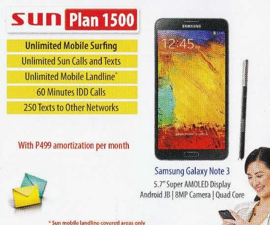 Samsung Galaxy Note 3 Now Available At Sun Plan 1500