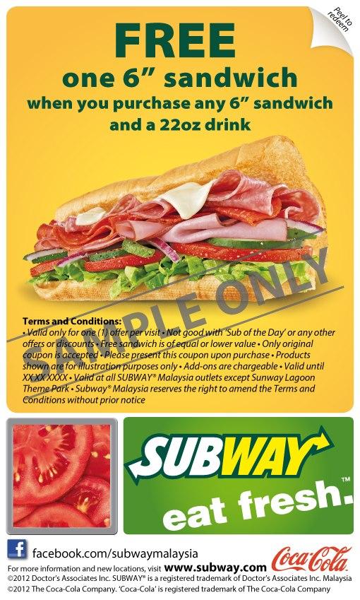 Subway discount coupons malaysia