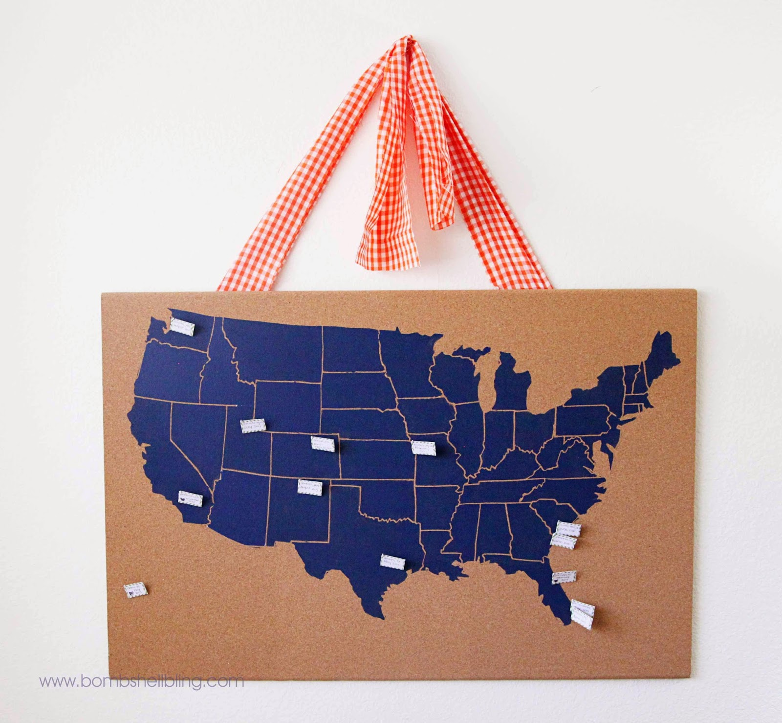 Us map mounted on cork board