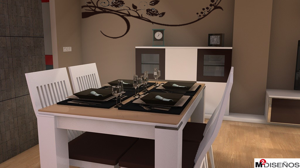 Salon comedor en tonos beige moka y con decoraciones for Quiero ver comedores