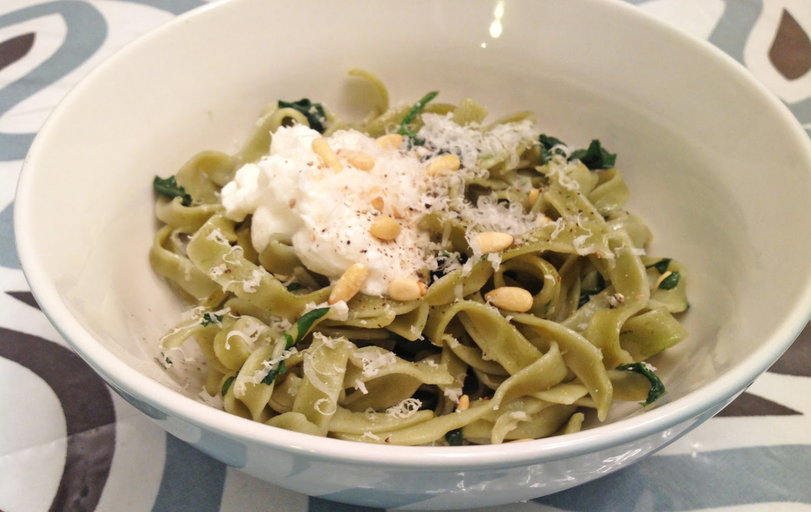 my back pages: spinach pasta with ricotta and pine nuts