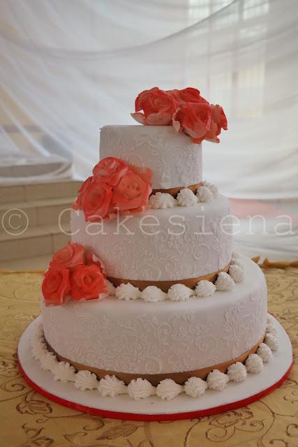 wedding cake, peach wedding cake, 3 tier wedding cake, cakes in lagos, cakes in nigeria, nigerian wedding cakes
