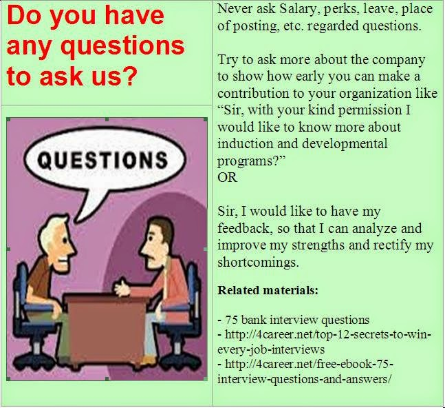 bank interview questions - Is There Any Questions You Would Like To Ask Us Interview Question