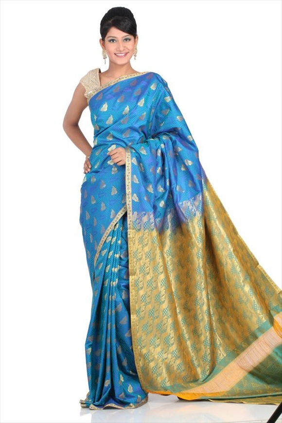 Aqua Blue Art Kattan Silk Banarasi Saree