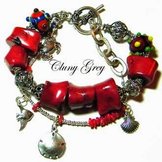 red coral bracelet with sterling silver and lampwork beads