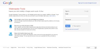 Login ke akun Google Webmaster