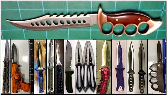 Counterclockwise From Top, Knives Discovered at: TUS, CLT, CLT, HNL, ORD, ORD, ORD, PHX, PVD, SFO, SFO, and SJC