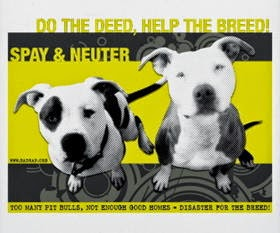 Two pitbulls with the slogan Do the Deed Help the Breed Spay and Neuter
