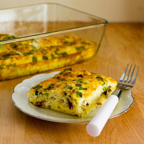 Breakfast Casserole with Cottage Cheese, Bacon, Feta, and Green Onions