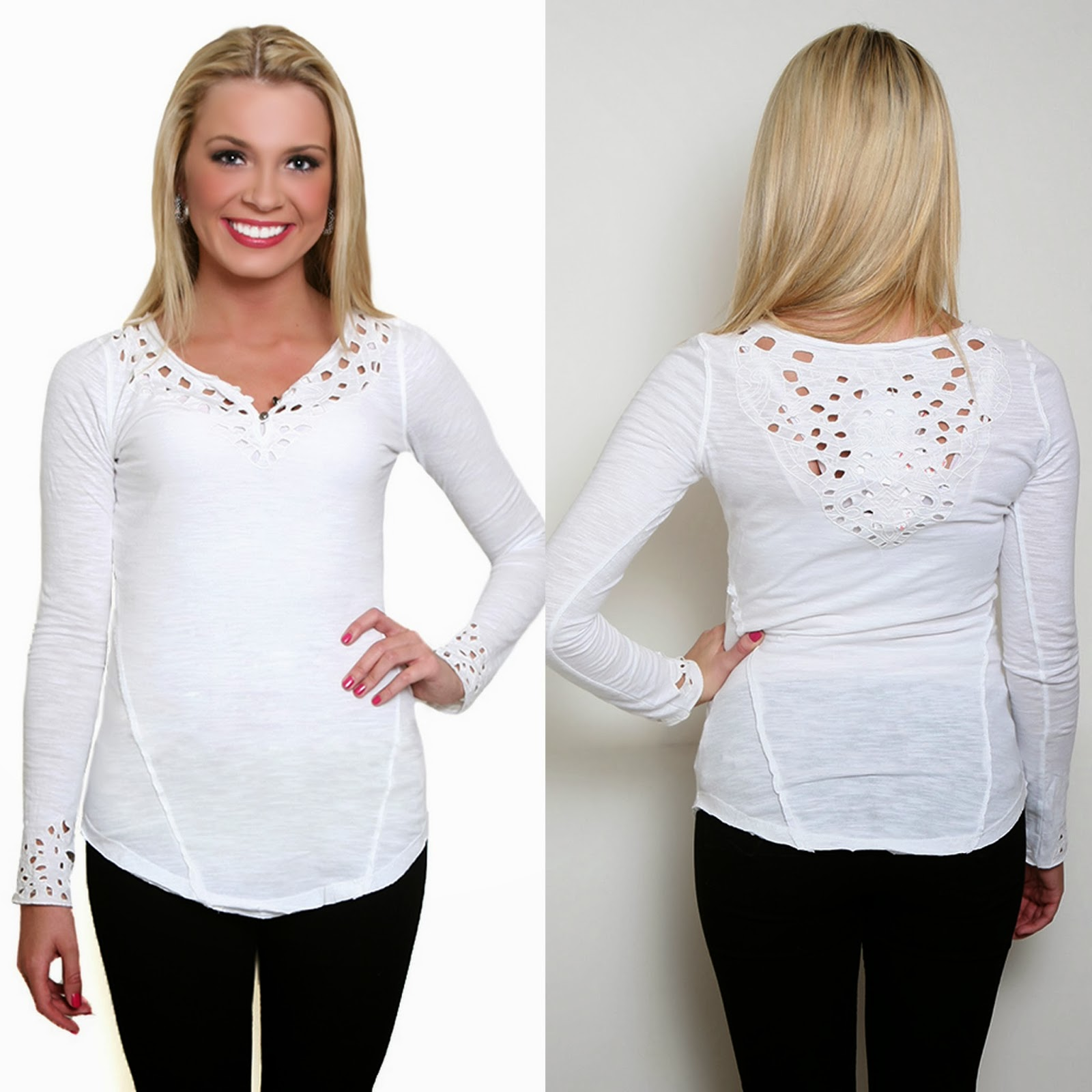cute white henley by free people