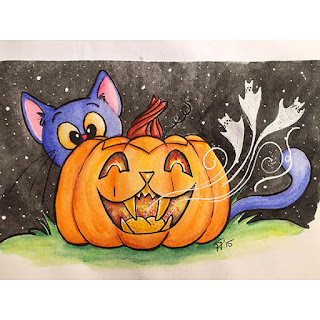 Watercolor and ink drawing of a kitty cat jack-o-lantern with a blue cat looking over