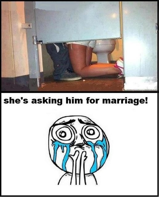 woman+on+her+knees+in+a+public+restroom+dr+heckle+funny+wtf+memes she's asking him for marriage! dr heckle