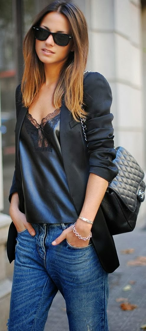 Black blazer, silky blouse, jeans and c channel bag