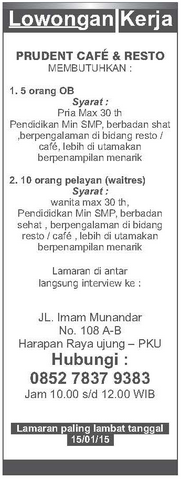 Lowongan Kerja Prodent Cafe & Resto Pekanbaru
