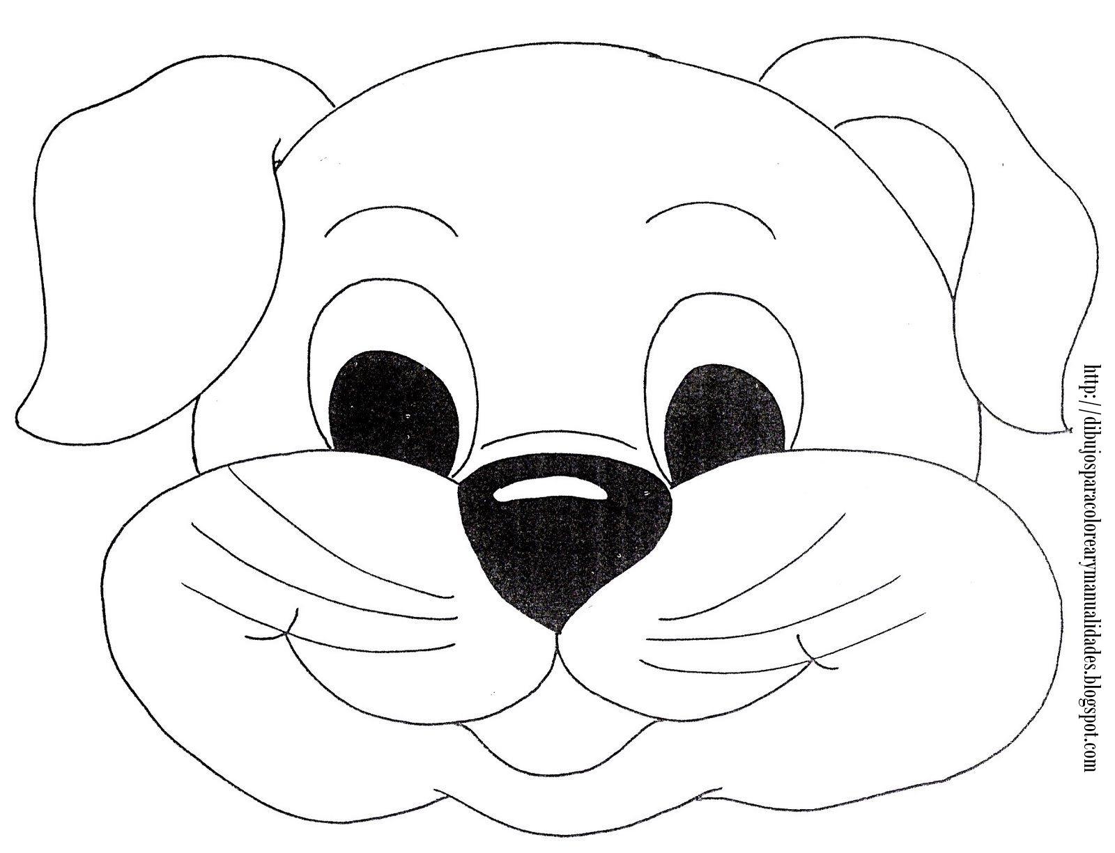 Dibujos para Colorear y Manualidades: Máscara de perro para colorear