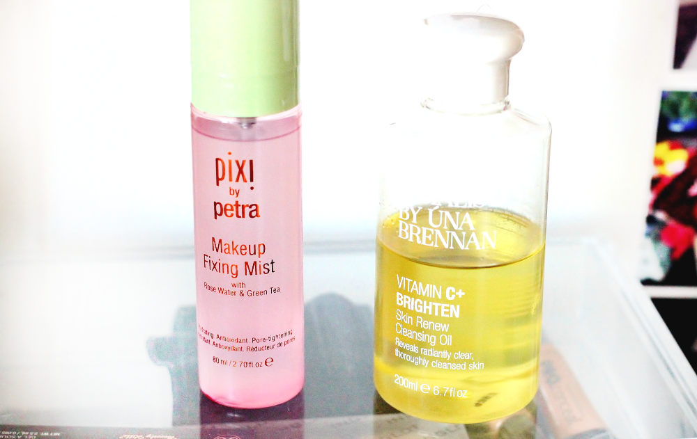 pixi by petra makeup fixing mist and una brennan vitamin c+ cleansing oil