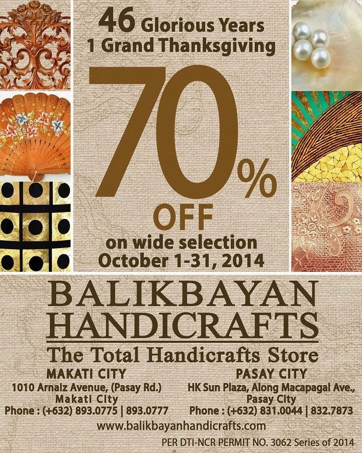 Manila Shopper Balikbayan Handicrafts Grand Anniversary Sale Oct 2014