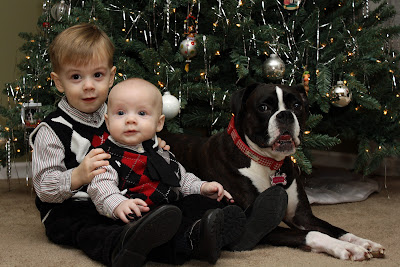 Boys in matching Christmas outfits