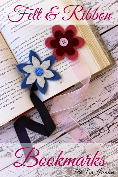 ribbon felt flower bookmarks