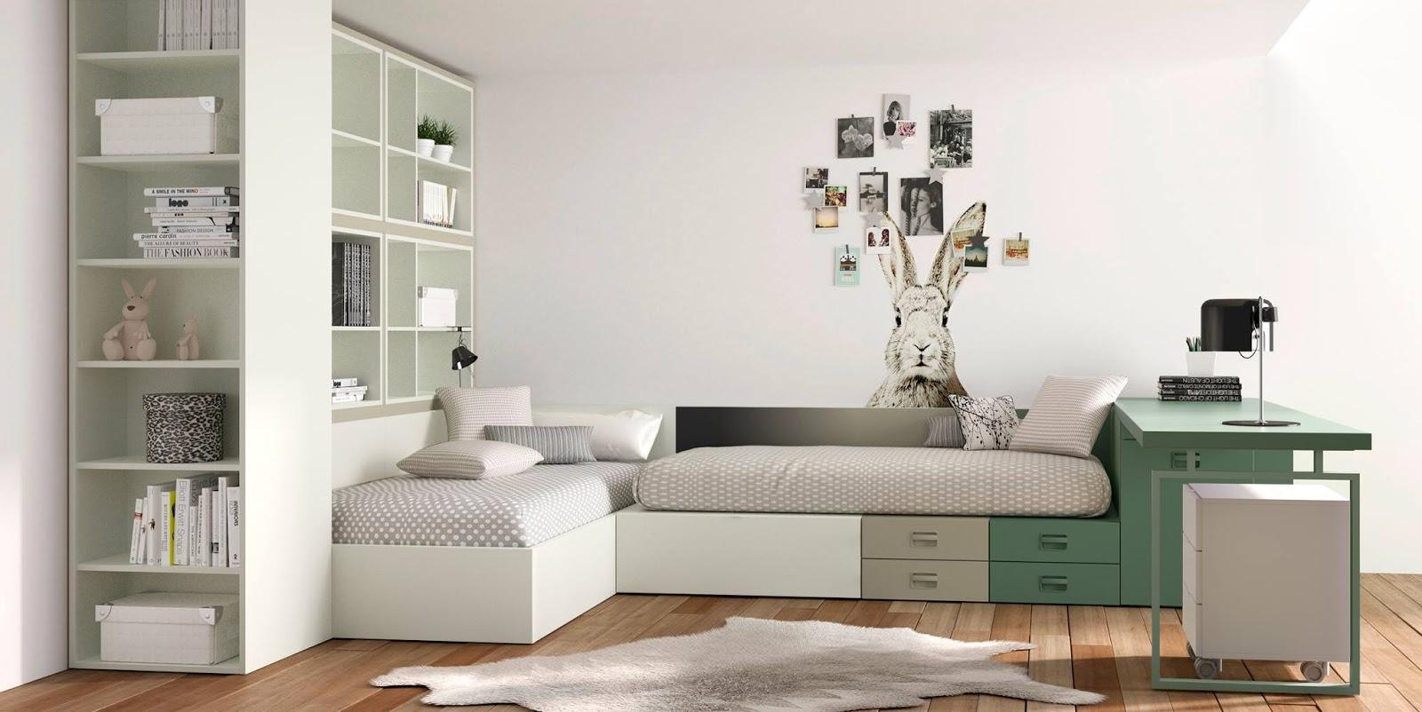 El blog de blanco mobles habitaciones infantiles y juveniles - Habitaciones dos camas ...