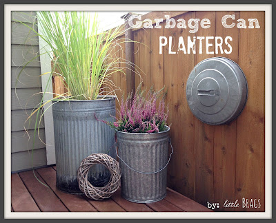 trash can planters, great upcycle for trashcans