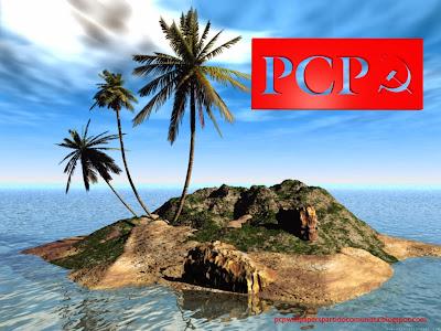 Fundo de tela do Partido Comunista Português. Logotipo da Foice e do Martelo do PCP em fundo Ilha 3D estilo stencil