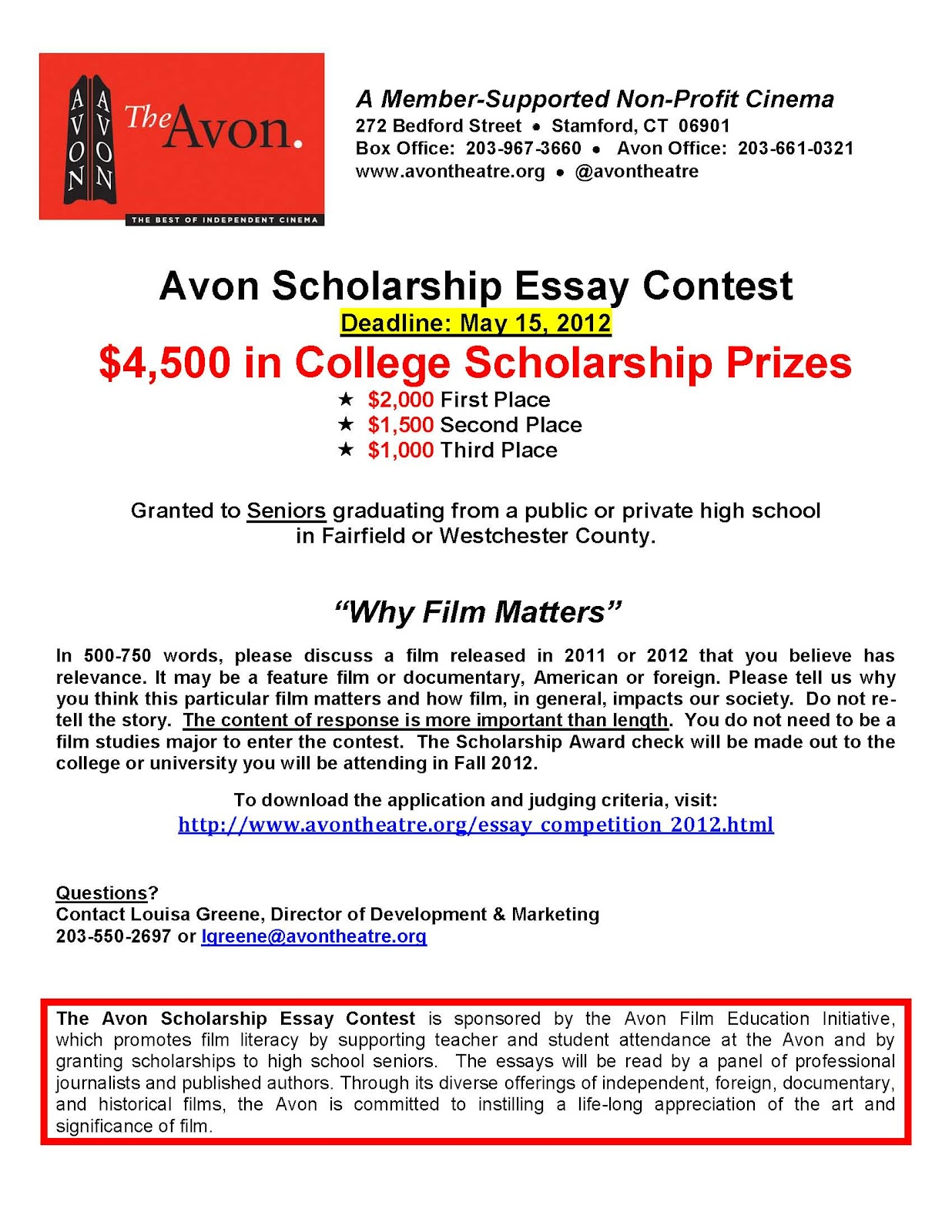 Essay Thesis Avon Film Essay Contest  Scholarship For Graduating High School Seniors Sample Essay Thesis also Paper Essay Writing Stamford Downtown Events Avon Film Essay Contest  Scholarship For  Good Thesis Statements For Essays
