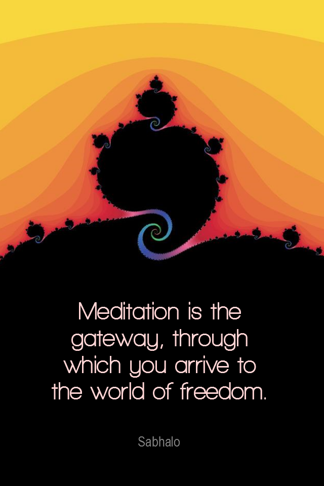 visual quote - image quotation for MEDITATION - Meditation is the gateway, through which you arrive to the world of freedom. - Sabhalo
