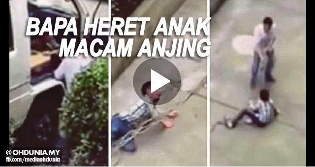 Video: Bapa dikecam, ikat leher anak heret & layan anak macam anjing