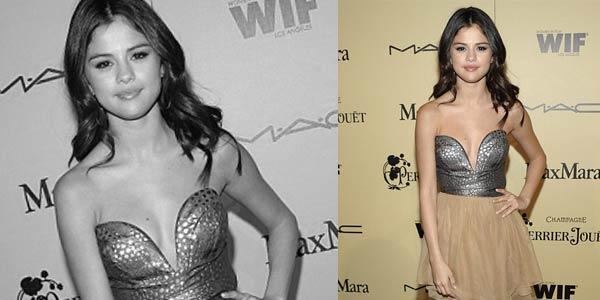 Foto Selena Gomez Pamer Belahan Dada di Oscar Award