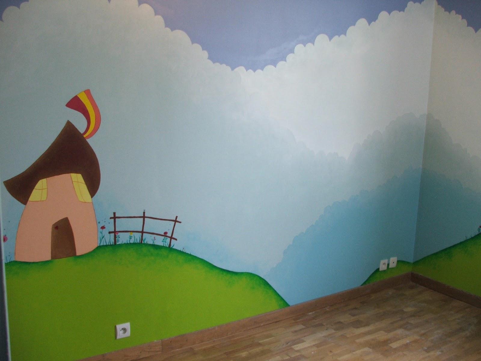 S verine peugniez cr ations peinture murale dans une for Peinture murale chambre enfant