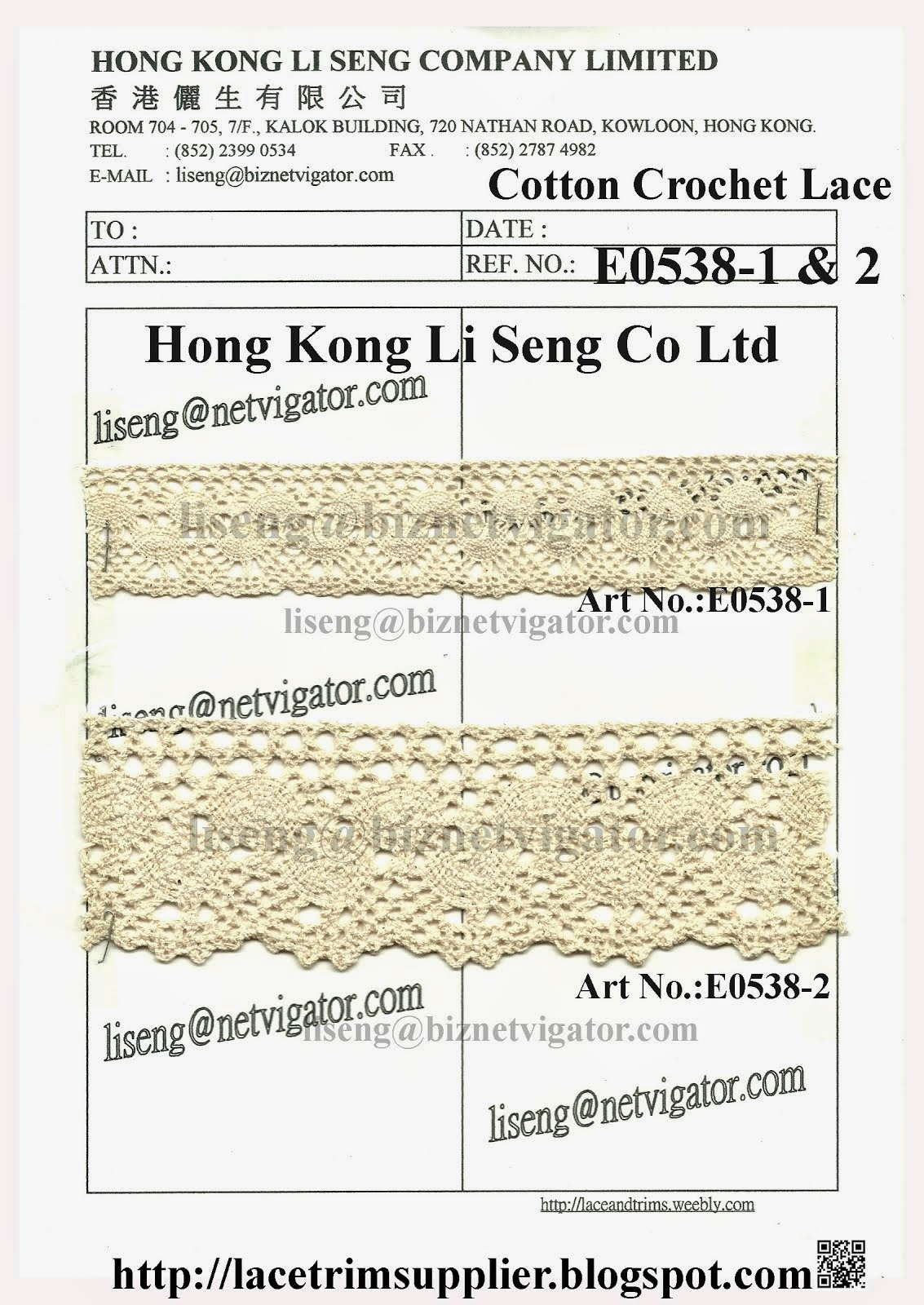 Cotton Crochet Lace Trims Factory - Hong Kong Li Seng Co Ltd