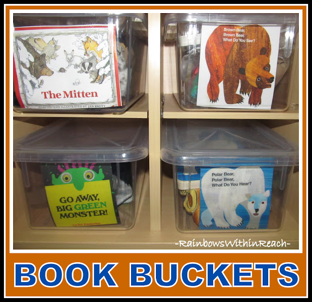 Photo of: Book Bins in Kindergarten, Organized for Use with Manipulatives + Puppets