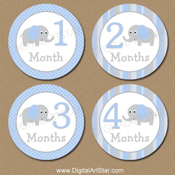 Blue & Grey Elephant Baby Milestone Stickers for Baby Boy