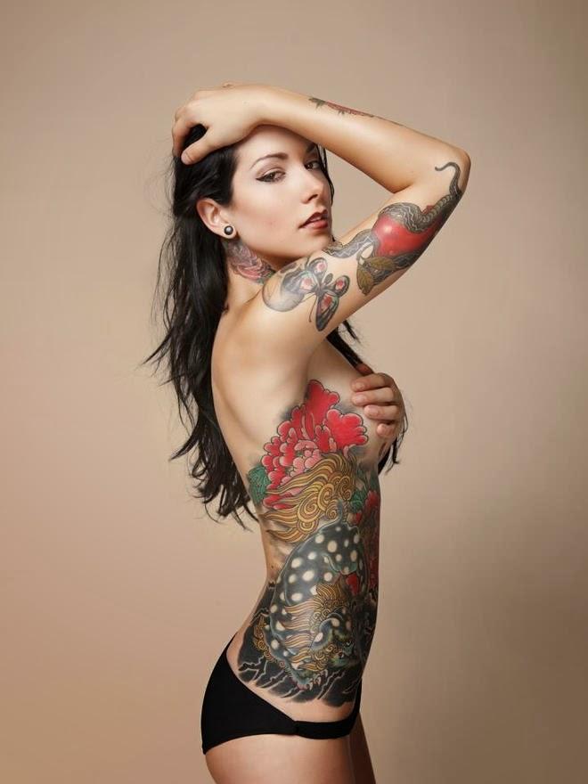 Verena kosheen asian butterfly apple snake female tattoo for Tattoo bodysuit female