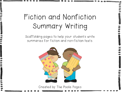 http://www.teacherspayteachers.com/Product/Fiction-and-Nonfiction-Summary-Writing-FREEBIE-998036