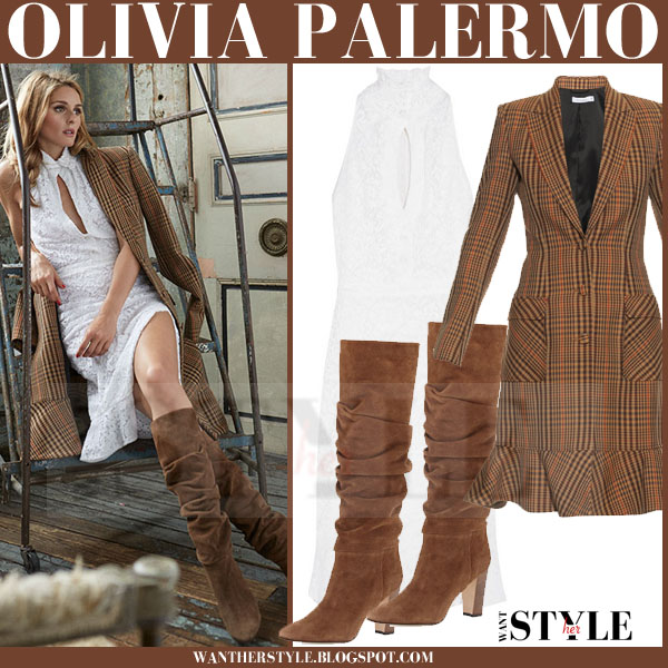 Olivia Palermo in brown check altuzarra cooper coat, white lace altuzarra keith dress and brown suede manolo blahnik brunchilee boots what she wore editorial look