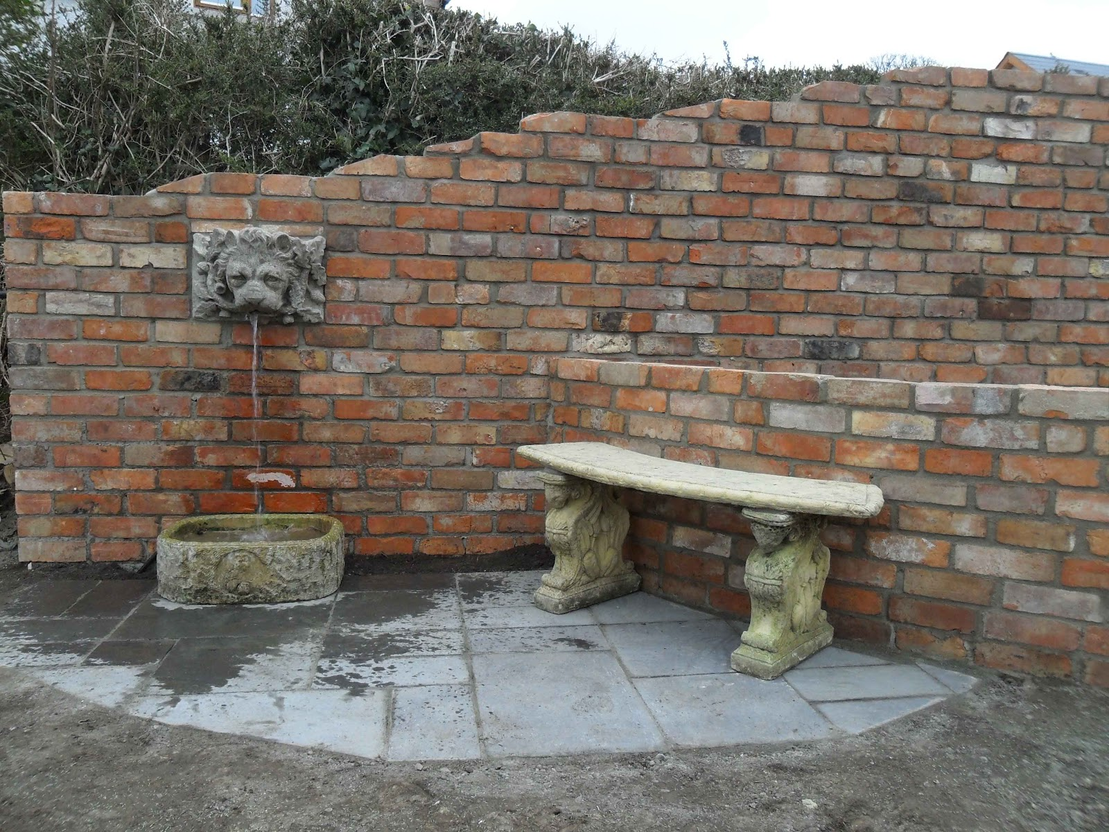 raised garden folly and water feature using reclaimed bricks termonfeckincolouth
