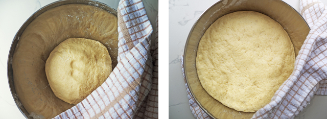 Yeast dough before and after rising in a metal bowl wrapped in a white tea towel.