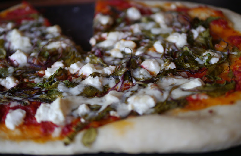Baby Beet Greens and Goat Cheese Pizza – Backwoods Mama
